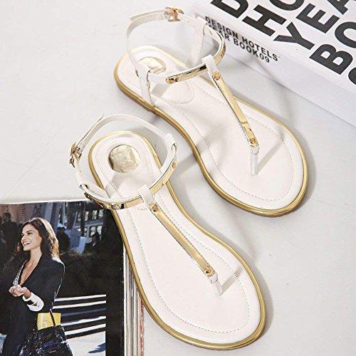Flops Summer Women Ankle Sandals Slingback Thong ThusFar Flat Adjustable White Flip Strap 70OYq