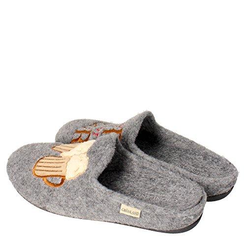 Grunland CI1073-38 Pantufla Hombre Fieltro gris