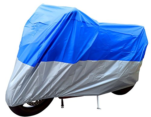 Universal Waterproof Dust Sun proof Indoor Outdoor Motorcycle Motorbike Cover for Harley Davison, Honda, Suzuki, Yamaha, Kawazaki Etc, Package Bag Include (XXL, Blue/Silver)