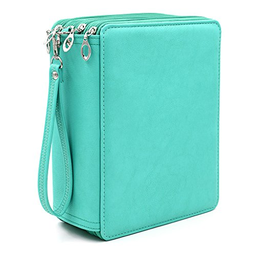 BTSKY 160 Slots Colored Pencil Organizer - Deluxe PU Leather Pencil Case Holder With Removal Handle Strap Pencil Box Large for Colored Pencils Watercolor Pencils(Green)