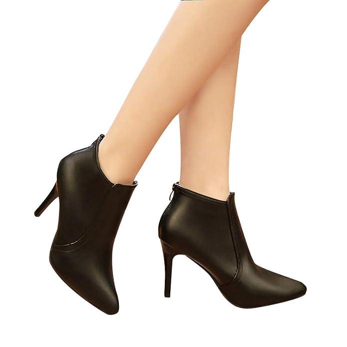 Amazon.com | XUANOU Women Ponited Toe Shoes Pure Color Zipper High Heels Casual Shoes Martin Boots Winter Black | Boots