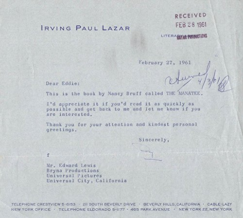 Swifty (Irving Paul) Lazar Typed Letter Signed 02/27/1961