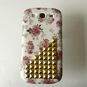 Shapotkina Studded Flower Punk Style Rivets Studs Cover Case for Samsung Galaxy S III I9300 with Studs and Spikes+Westlinke LOGO stylus