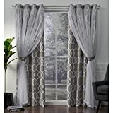 Cheap Exclusive Home Carmela Layered Geometric Blackout and Sheer Window Curtain Panel Pair with Grommet Top, 52×96, Natural, 2 Piece