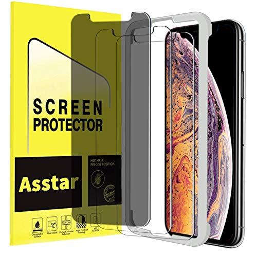 iPhone Xr Privacy Screen Protector, Asstar [No Worry Easy Installation Guidance Alignment Frame] [Anti Spy] [Anti Glare] Tempered Glass Perfect Touch Accurate Case Friendly Screen Protector [3P] ()