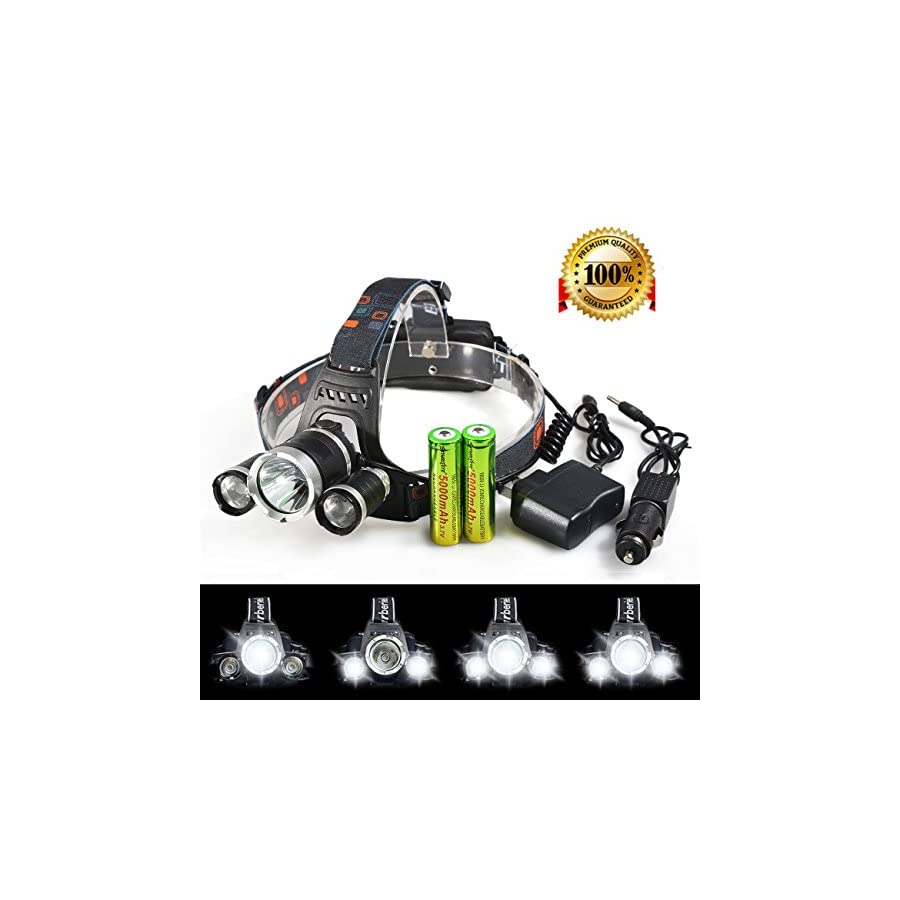 X.Store 8000 Lumens Headlamp LED Flashlight Bright Headlight Torch with 18650 Rechargeable Batteries and Wall Charger for Outdoor
