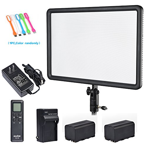 Godox LEDP260C CRI95+ 30W Ultra-thin Lightweight LED Video Light Panel,Adjustable 3300K-5600K color temperature with RC-A5 Remote Control for DSLR Cameras /Camcorders with 2x NP-F750 battery&Charger by Godox