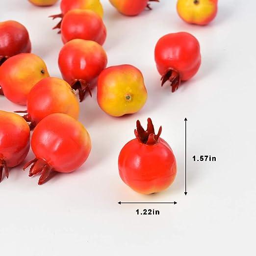 20x Mini Lifelike Simulation Artificial Pomegranate Fake Fruit Home Party Decor