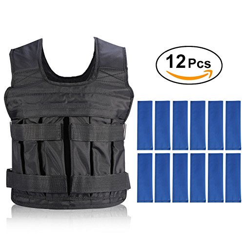 Weight Vests Adjustable Weighted Vest Running Gym Training Running Jackets Workout Exercise Loss Weight Jackets Sand Loading Cloth (Weights not Included) by Yosoo
