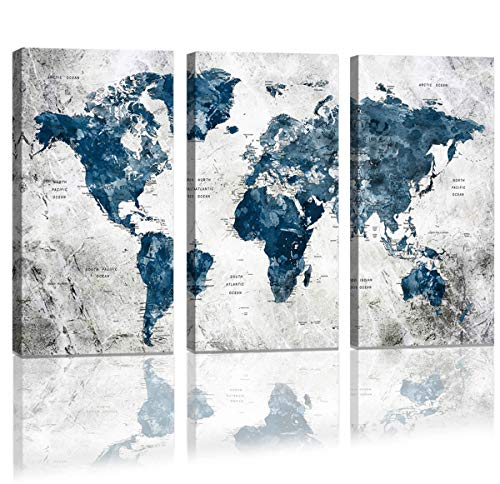 Framed Wall Art Map of the world Watercolor Abstract World Map Wall Decal Large Office Canvas Wall Art Painting for Bedroom Wall Decoration for Living Room 3 piece Blue Artwork for Walls 16x32inch ()
