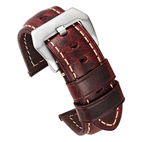 Red-Brown Leather Watch Strap 22mm Replacement Watch Band with Silver Stainless Buckle Calfskin (Red Leather Brown)