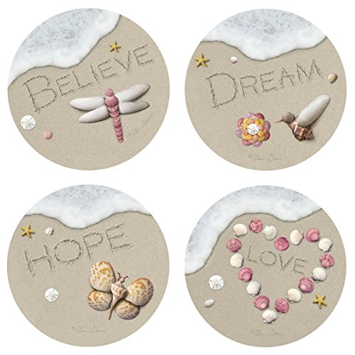 Thirstystone Stoneware Coaster Set, Sand Writing