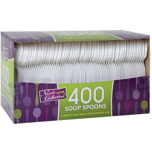 Plastic Cutlery, Soup Spoons, Medium Weight Disposable, 400 Count, - White Soup Spoon Plastic