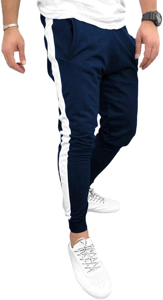 Yying Hombre Raya Pantalones Deportivos Cintura Elásticos Cordón ...