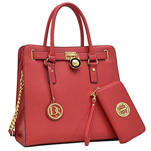 (DASEIN Fashion Top Belted Tote Satchel Designer Padlock Handbag Shoulder Bag for Women (2553w-red))