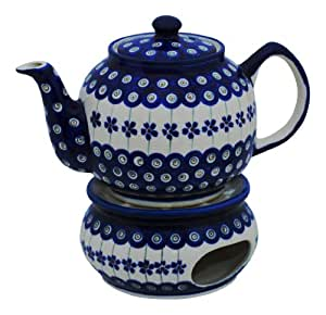 Boleslawiec Pottery 166a - Tetera con calentador (1,0 L, cerámica polaca de Boleslawiec)