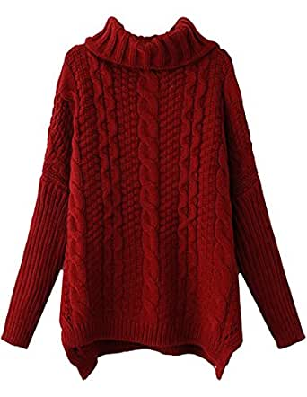 Sheinside Women White Long Sleeve Turtleneck Chunky Cable Knit Loose Sweater Pullover (one-size, Red)