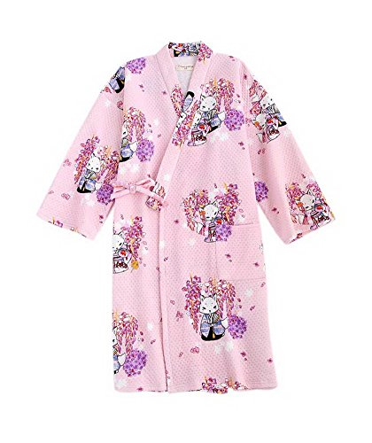 Gentle Meow Japanese Style Kimono Robe Pajamas Steaming Bathrobes Home Nightgown, Pink Foxes by Gentle Meow (Image #2)