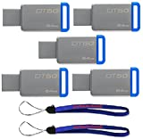Kingston (TM) Digital 64GB (5 Pack) USB 3.0 Data Traveler 50 Flash Drive DT50, 110MB/s Read, 15MB/s Write Speed with Everything But Stromboli (TM) Lanyards (2) (DT50/64GB)