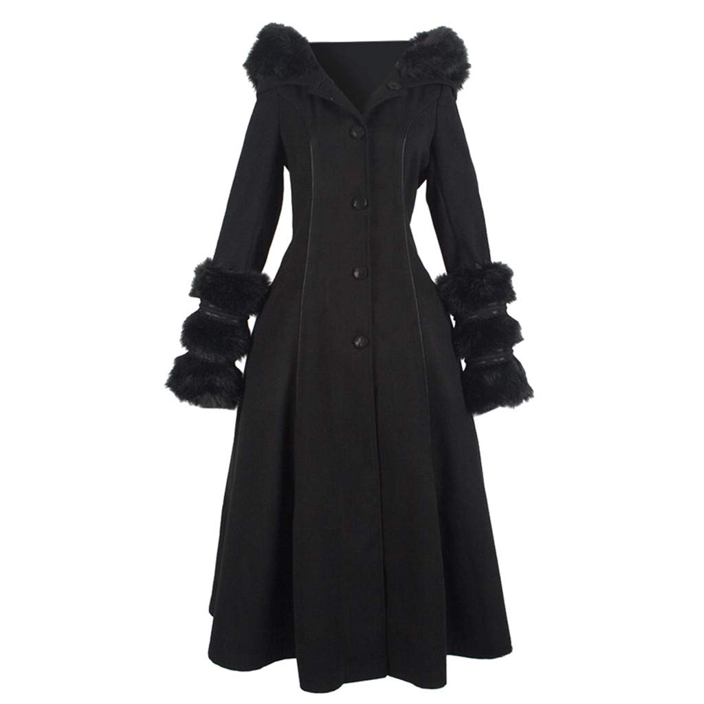 Fashionhe Women Overcoat Autumn/Winter Jacket Woolen Collar Outwear Hooded and Lace-up Long Sleeve Coat(Black.XL) by Fashionhe