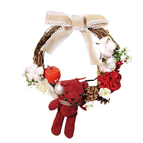 Vovomay 30cm Christmas Artificial Wreath, Door Wall Ornament Garland Decoration Halloween Wreath Door Wall Ornament