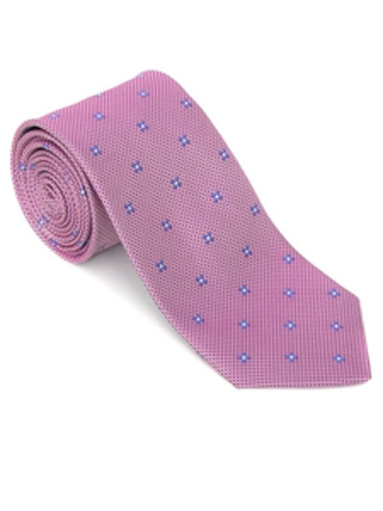 Robert Talbott Pink Small Neat Silk with Purple Floral Design Post Ranch Estate Tie