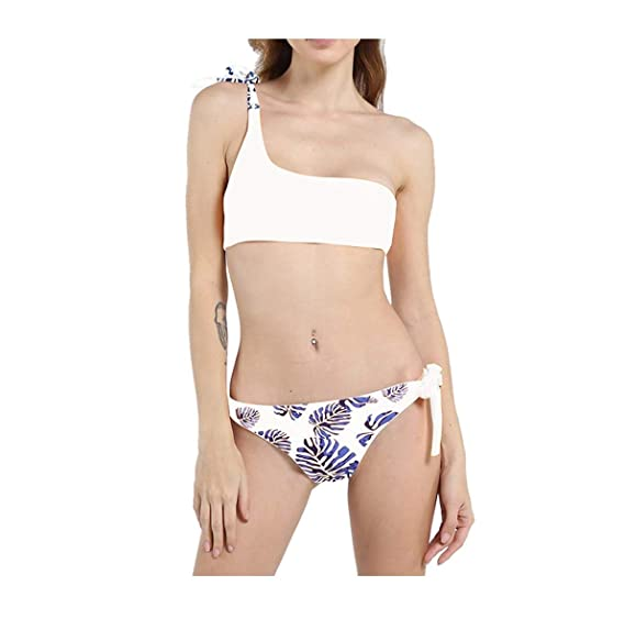 544ec45cb7 Amazon.com  Women s Split One-Shoulder Swimsuit Printed Underwear Swimwear  Set Swimsuit White  Clothing