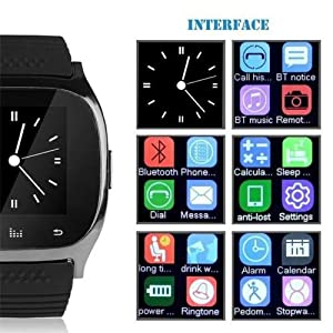 Bluetooth Smart Wrist Watch + Earphone For IOS Android iPhone Samsung HTC Huawei (purple)