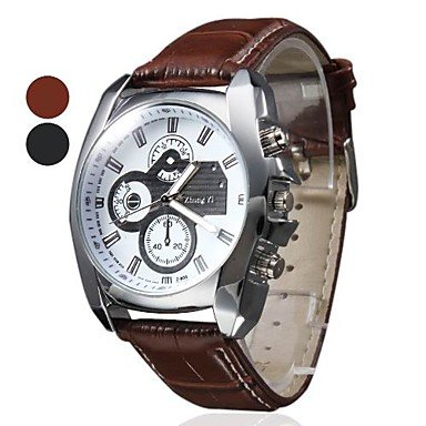 Soleasy New Men's Silver Case Leather Band Quartz Analog Wrist Watch WTH1009