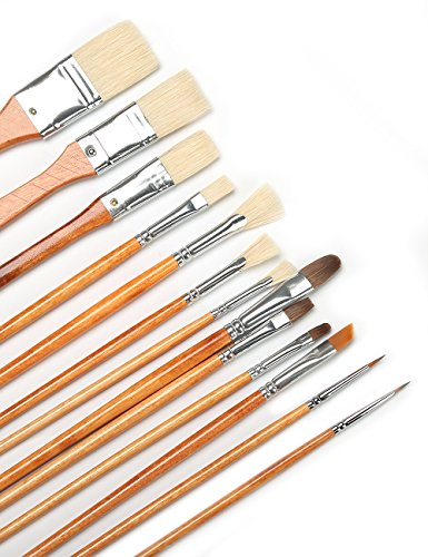 MEEDEN Art Paint Brushes Long Handled Hog Sable Nylon Hair Brush Set for Acrylic Oil Watercolor Face Painting, Assorted Shapes and Bristles 13 - Long Face Shapes