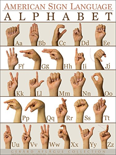 Giclee Art Matte (Gerard Aflague Collection - American Sign Language Alphabet (ABC) Poster - Fine-Art Giclee Printed, 18x24 Inches - Matte Finish)