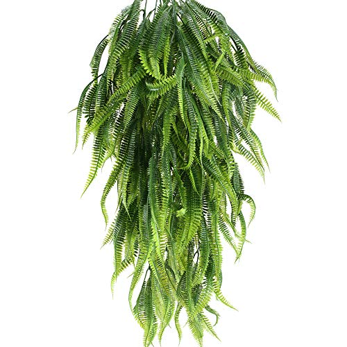 MHMJON 2 Pcs 33.5 Inches Artificial Hanging Plants Outdoor UV Resistant Plastic Fake Hanging Boston Fern Vines for Wall Indoor Hanging Baskets Kitchen Home Garden Wedding Garland Decor from MHMJON