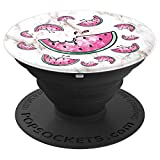 Watermelon Slices Seeds Marble Teal Pink Fruit Summer - PopSockets Grip and Stand for Phones and Tablets