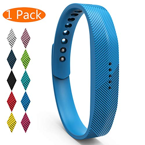 itbit Flex 2 Bands, Soft Silicone Replacement Band for Fitbit Flex 2, with Metal Buckle Fitness Wristband Sport Strap Women Men (1-Pack, Sky Blue, Small) ()