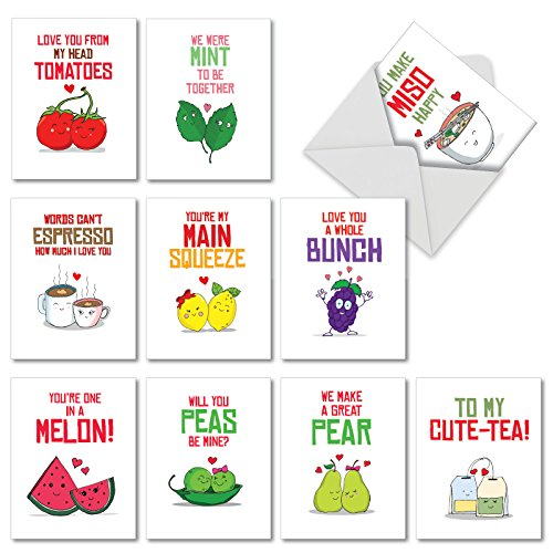 rds for All Occasions with Envelopes, 'Romantic Yummy Puns' Assorted Stationery Set, Blank Greeting Cards for Birthdays, Weddings, Thank Yous - NobleWorks M5659OCB-B1x10 ()