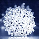 LightsEtc 72ft 200 LED White Solar String Lights LED Fairy Lights Christmas Lights Ambiance Lighting with Pure Wire for Gardens, Homes, Christmas Party