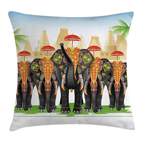 Ethnic Throw Pillow Cushion Cover by Ambesonne, Elephants in Traditional Costumes with Umbrellas Ethnic Ceremony Ritual Graphic, Decorative Square Accent Pillow Case, 18 X 18 Inches, Multicolor - Traditional Costume Contemporary Dance