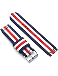 19mm nylon watch band for Swatch style multi-color replacement strap (5 stripes-Silver buckle)