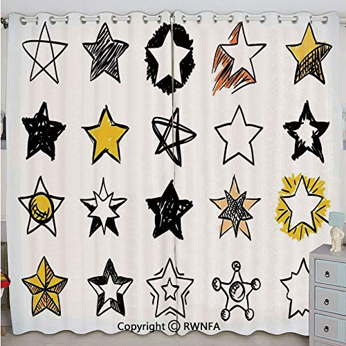 Justin Harve window Sweet Sixteen Stars Hand Drawn Style Colorful Art Rock Punk Themed Teen Room Design Bedroom Blackout Curtains Set of 2 Panels(84
