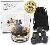 Image of WHISKEY ROX - BLACK WHISKEY STONES (Set of 9) — Natural Polished Black Granite Stone — Reusable Scotch Rocks — Premium Whisky Chilling Cubes — Better Than Ice — BONUS: Gift Box+Velvet Pouch
