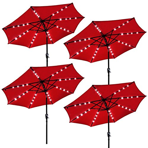 9ft Outdoor Patio Solar Power LED Aluminium Umbrella Sunshade UV Blocking Hand-Crank Tilt - Set of 4 Red - Mall Gainesville In