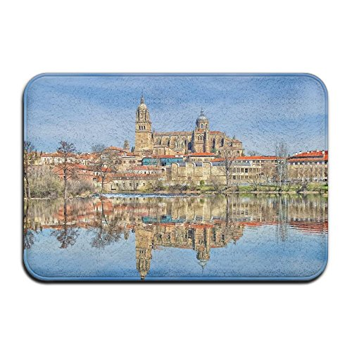 YUYU Architecture Building Old Building Town House Spain Cathedral Water Lake Reflection Trees Clouds Tower Living Room White Memory Foam Bath Rug 16x24 Inch Customized Artwork Print by YUYU