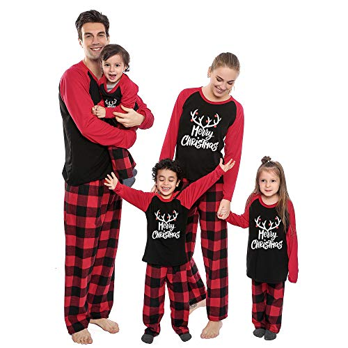 Christmas Pajamas for Family Matching Set, Holiday Long Sleeve Elk Tops and Plaid PJs Pants Sleepwear for Couples, Women, Men, Kids (Kids-(8-10T)) Black (Pajamas Kohls Christmas Matching)