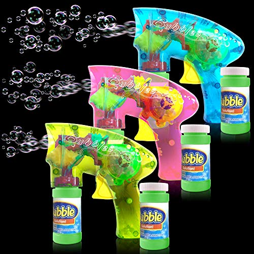 ArtCreativity Friction Powered Light Up Bubble Blaster Set (Set of 3)   Includes 3 LED Bubbles Guns & 6 Bottles of Bubble Fluid   Outdoor, Indoor Fun   Gift Idea, Party Activity   No Batteries Needed by ArtCreativity (Image #1)