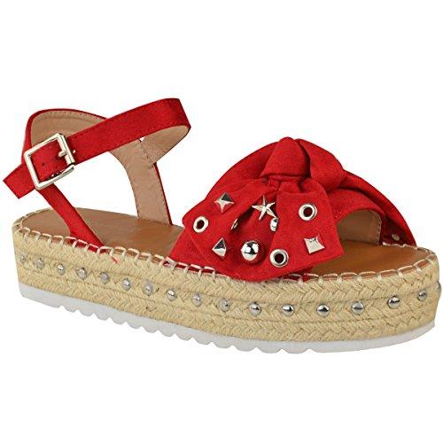 Fashion Thirsty Womens Studded Flatform Summer Wedge Sandals Espadrilles Platform Size Red Faux Suede cA8LPq9wD