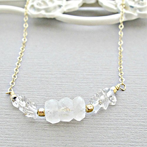 (14kt Gold Fill, Moonstone Necklace,Herkimer Diamond Necklace, 14k Gold Filled, Rough Diamond Necklace, Crystal Necklace, Quartz Necklace, Diamond Necklace, Moonstone Pendant)