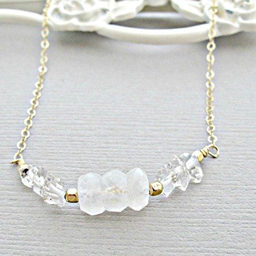 Rough Cut Diamond - 14kt Gold Fill, Moonstone Necklace,Herkimer Diamond Necklace, 14k Gold Filled, Rough Diamond Necklace, Crystal Necklace, Quartz Necklace, Diamond Necklace, Moonstone Pendant