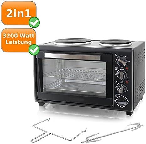 2 en 1 multifuncional Horno con placa de cocina, Multi Horno con 3200 W, 28liter (, color: negro: Amazon.es: Grandes electrodomésticos
