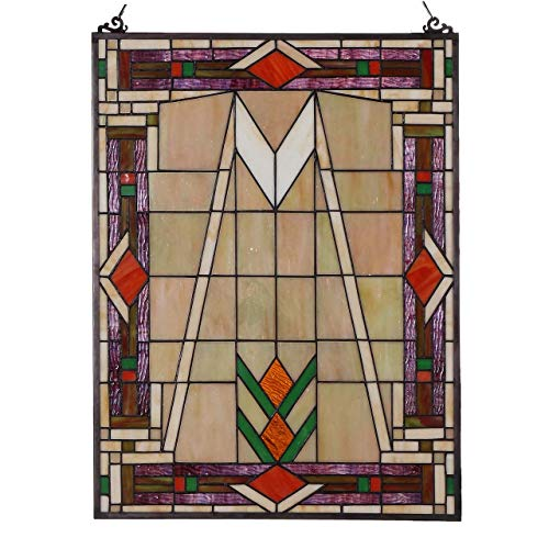 es Mission Tiffany Style Stained Glass Window Panel with Hanging Chain ()