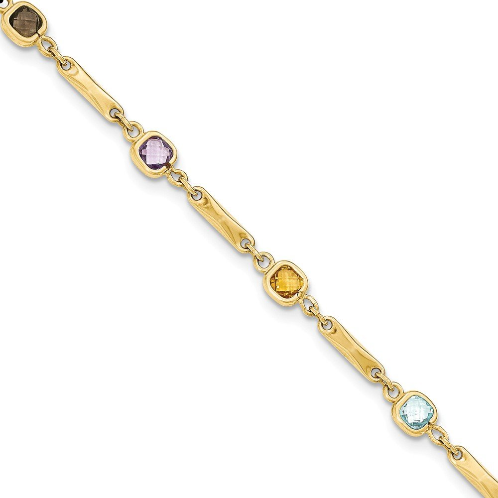 Genuine 14k Yellow Gold Multi Gemstone Fancy Link Bracelet 7.5 inches
